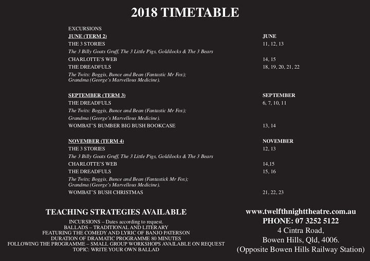 2018 Timetable